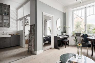Eleganță în gri într-un apartament de numai 42 m²