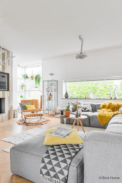 Accente galben muștar în decorul scandinav al unei case din Olanda