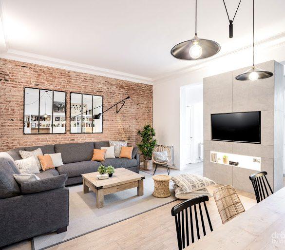 Accente industrial într-o amenajare modernă a unui apartament din Barcelona