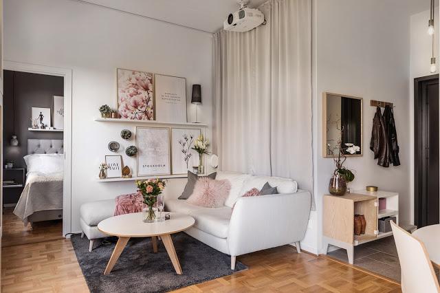 Amenajare feminină și practică într-un apartament de numai 36 m²