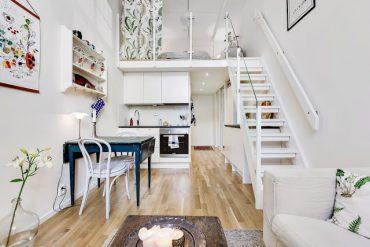 Dormitor la mezanin într-un loft de numai 29 m²