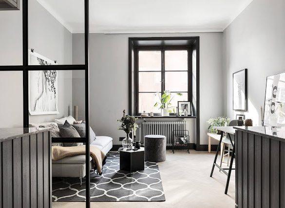 Negru, gri și alb în amenajarea unei garsoniere de numai 21 m²