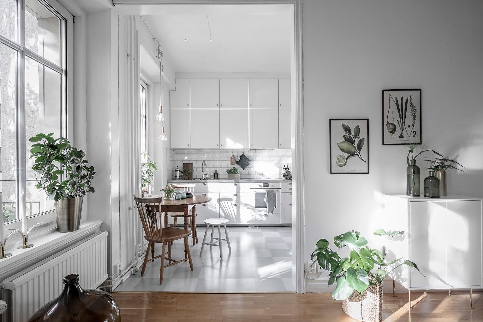 Apartament de 56 m² amenajat în stil scandinav cu accente retro