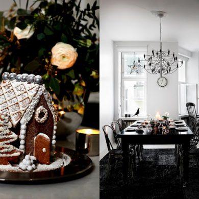 Decor de Crăciun în alb și negru într-o casă din Finlanda