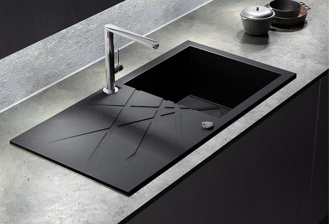 chiuveta de bucatarie neagra si baterie neagra