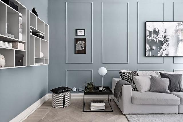 Pereți gri-albăstrui în decorul unui apartament de 2 camere