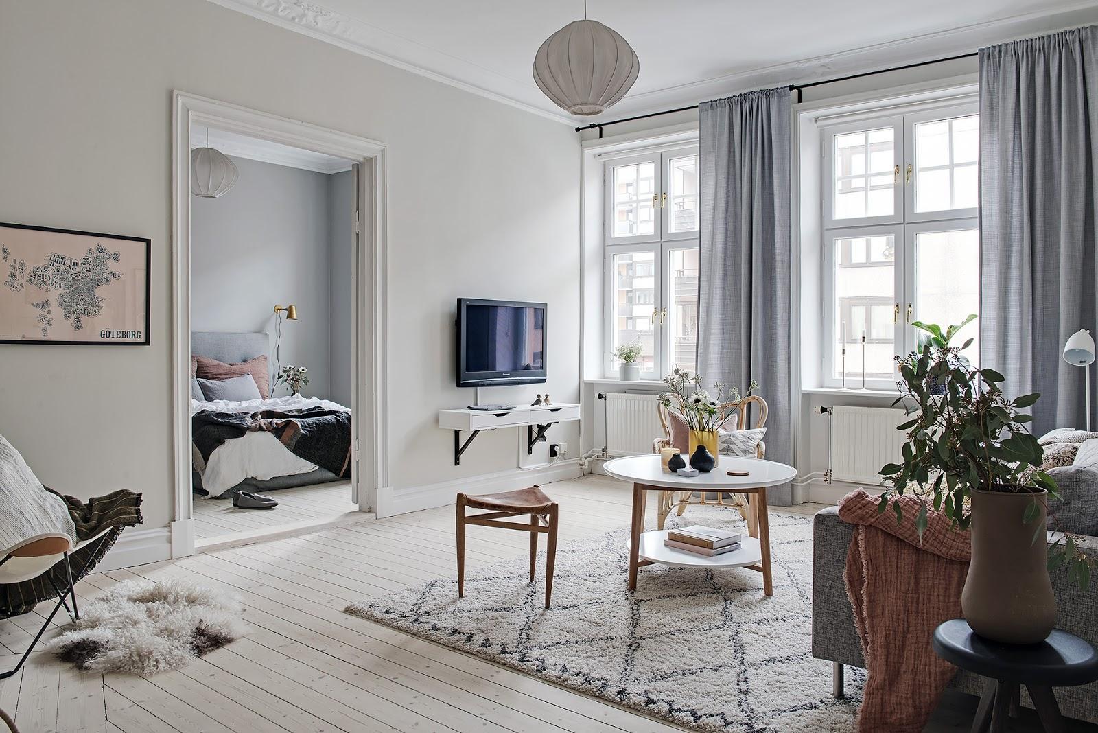 Accente pastelate în amenajarea scandinavă a unui apartament de 83 m²