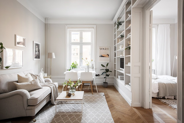 Eleganță în tonuri deschise de culoare în decorul unui apartament de 43 m²