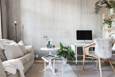 Amenajare modernă, în plan deschis, într-o garsonieră de 33 m²