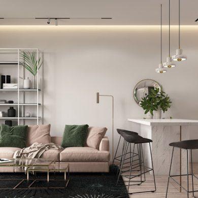 Roz prăfuit și verde închis în proiectul de amenajare a unui apartament de 2 camere