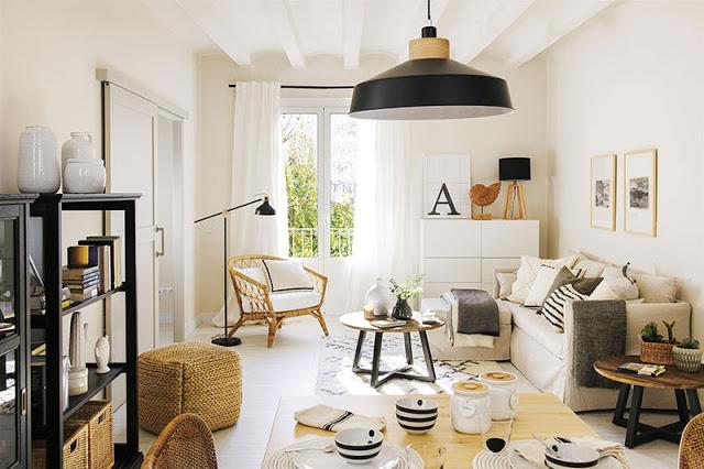 Culori neutre în amenajarea unui apartament de 50 m² din Spania