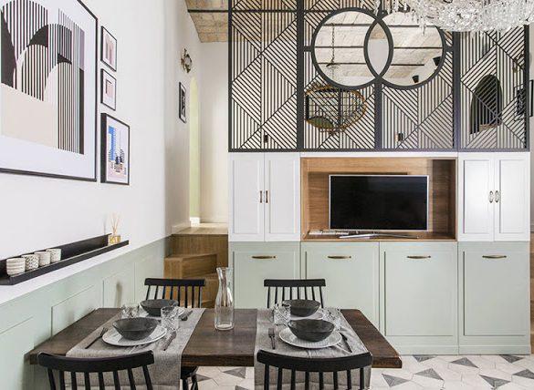 Joc geometric în tonuri pastelate de culoare într-un apartament de 65 m² din Roma