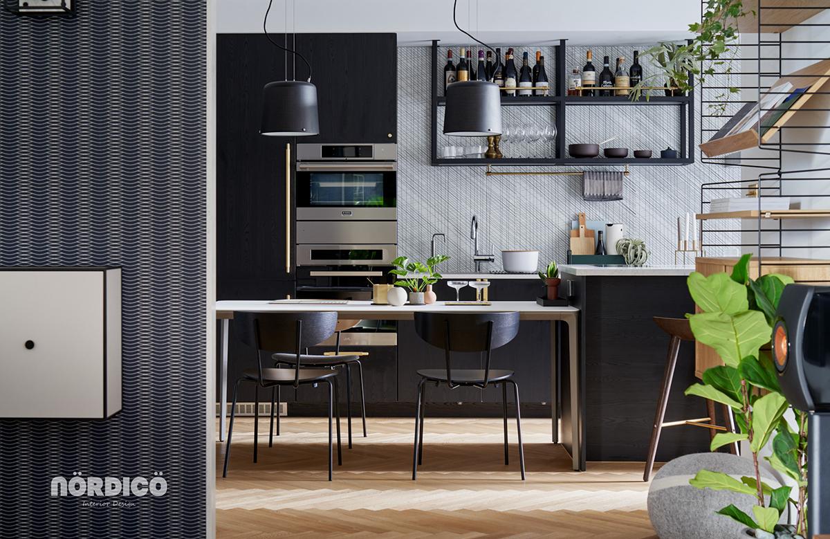 Design interior cu bucătărie neagră într-un apartament de 2 camere 1