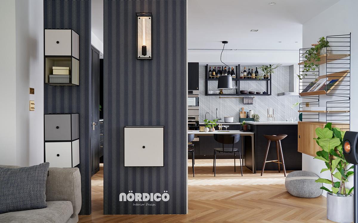 Design interior cu bucătărie neagră într-un apartament de 2 camere 10