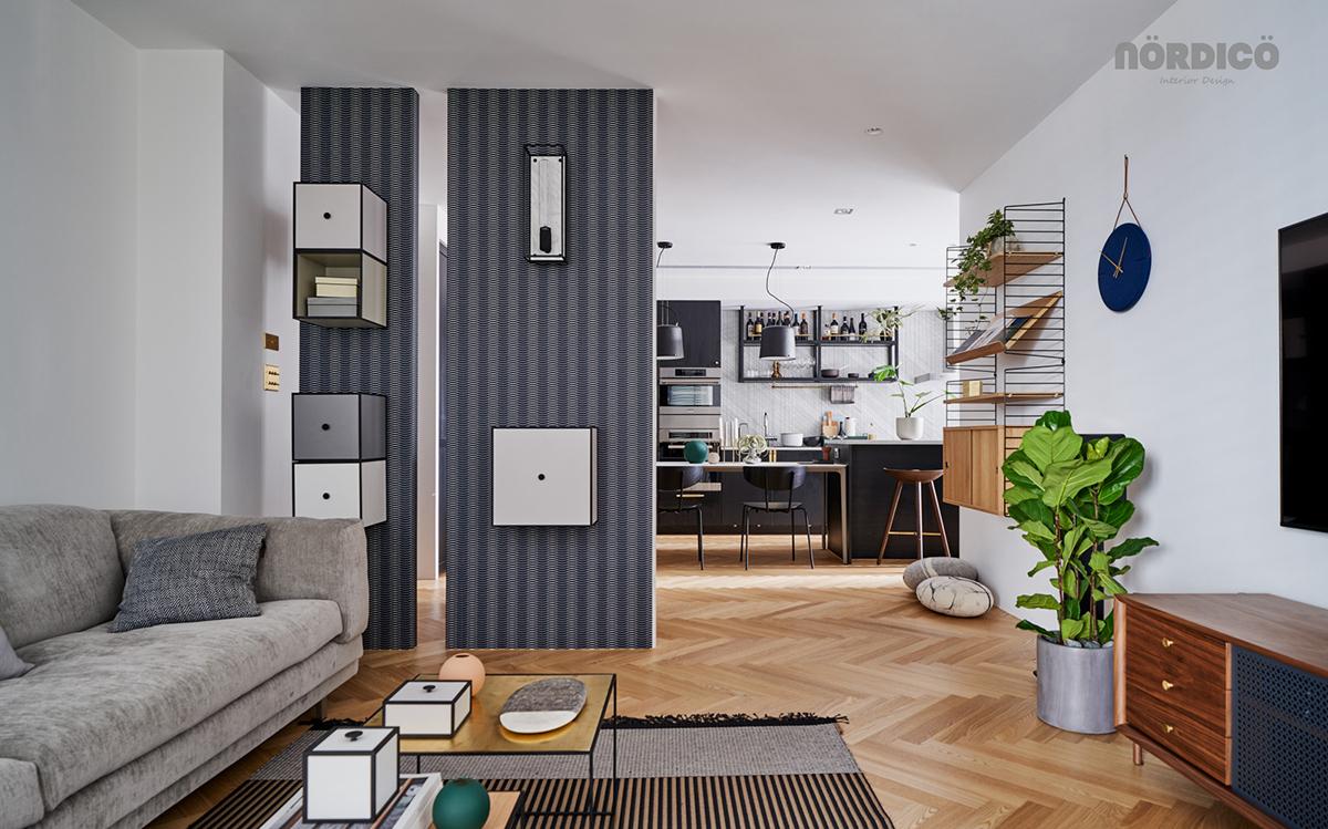 Design interior cu bucătărie neagră într-un apartament de 2 camere 11