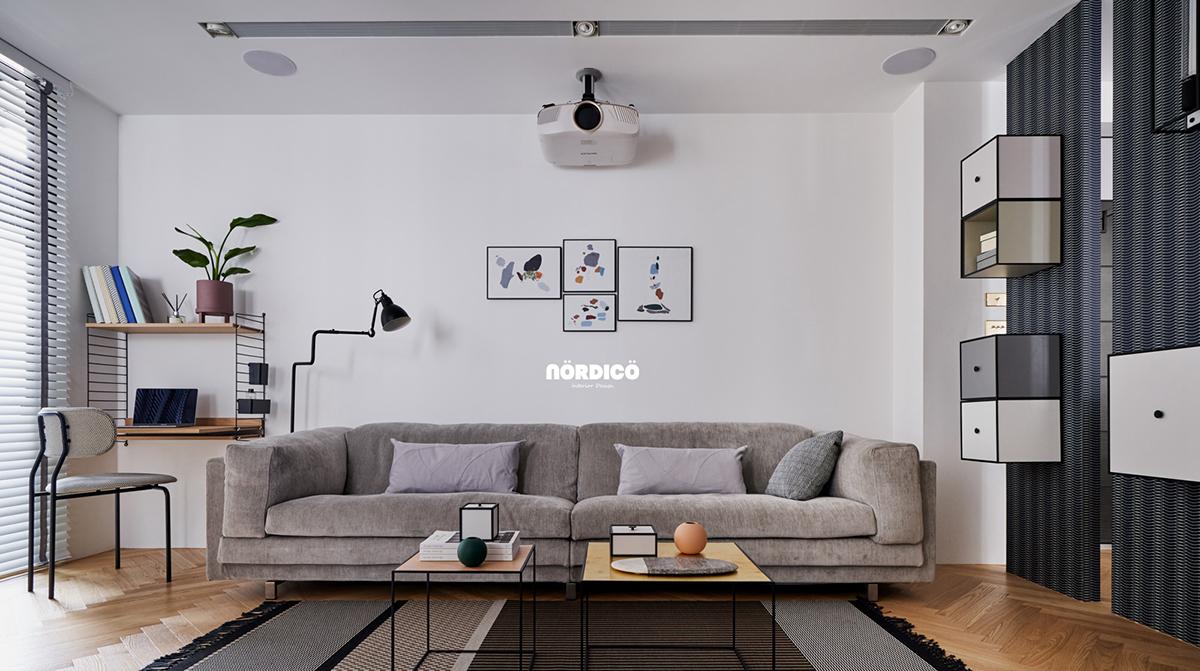 Design interior cu bucătărie neagră într-un apartament de 2 camere 13