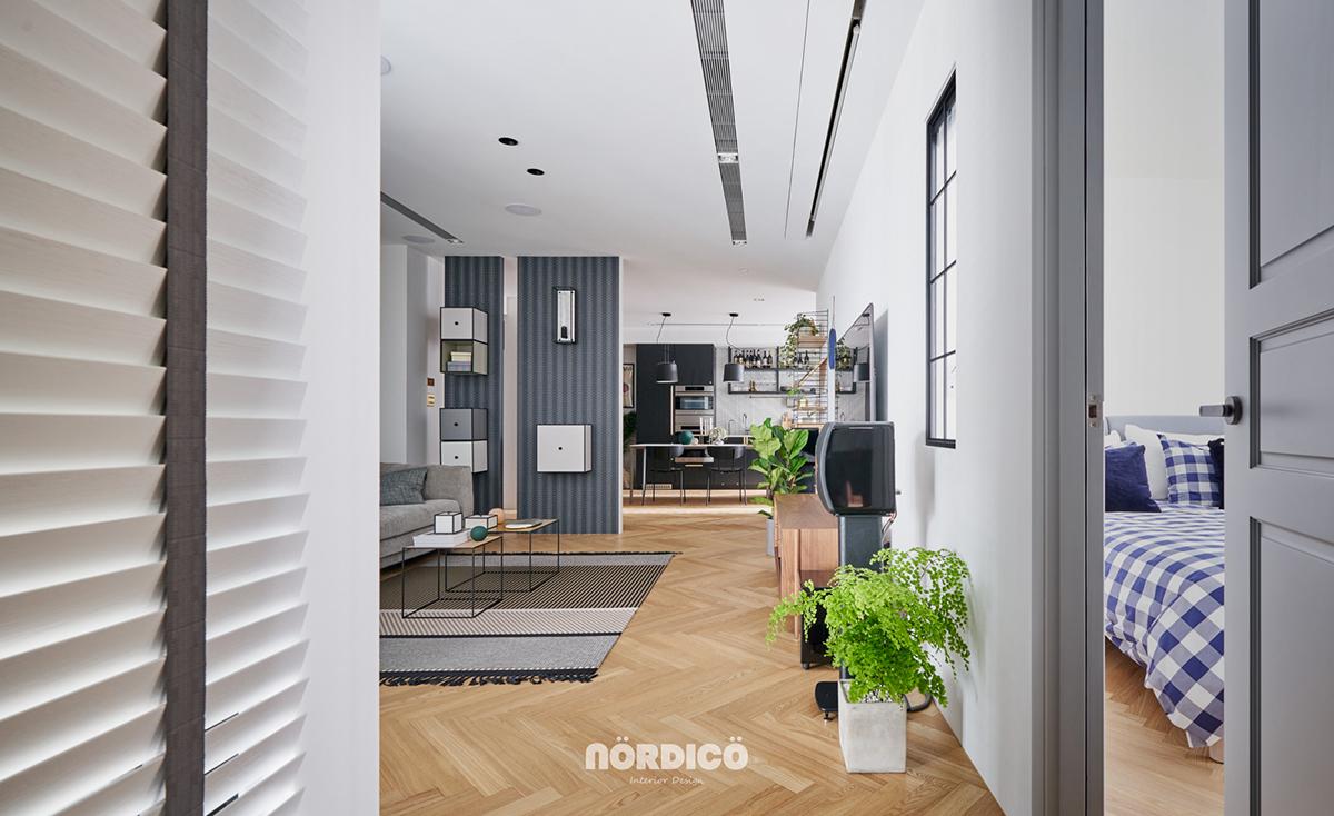 Design interior cu bucătărie neagră într-un apartament de 2 camere 17