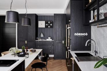 Design interior cu bucătărie neagră într-un apartament de 2 camere 5