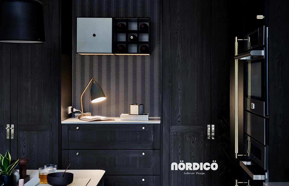 Design interior cu bucătărie neagră într-un apartament de 2 camere 6