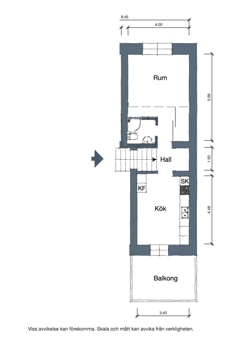 Idee de amenajare garsonieră cu dormitor deasupra holului de la intrare 21