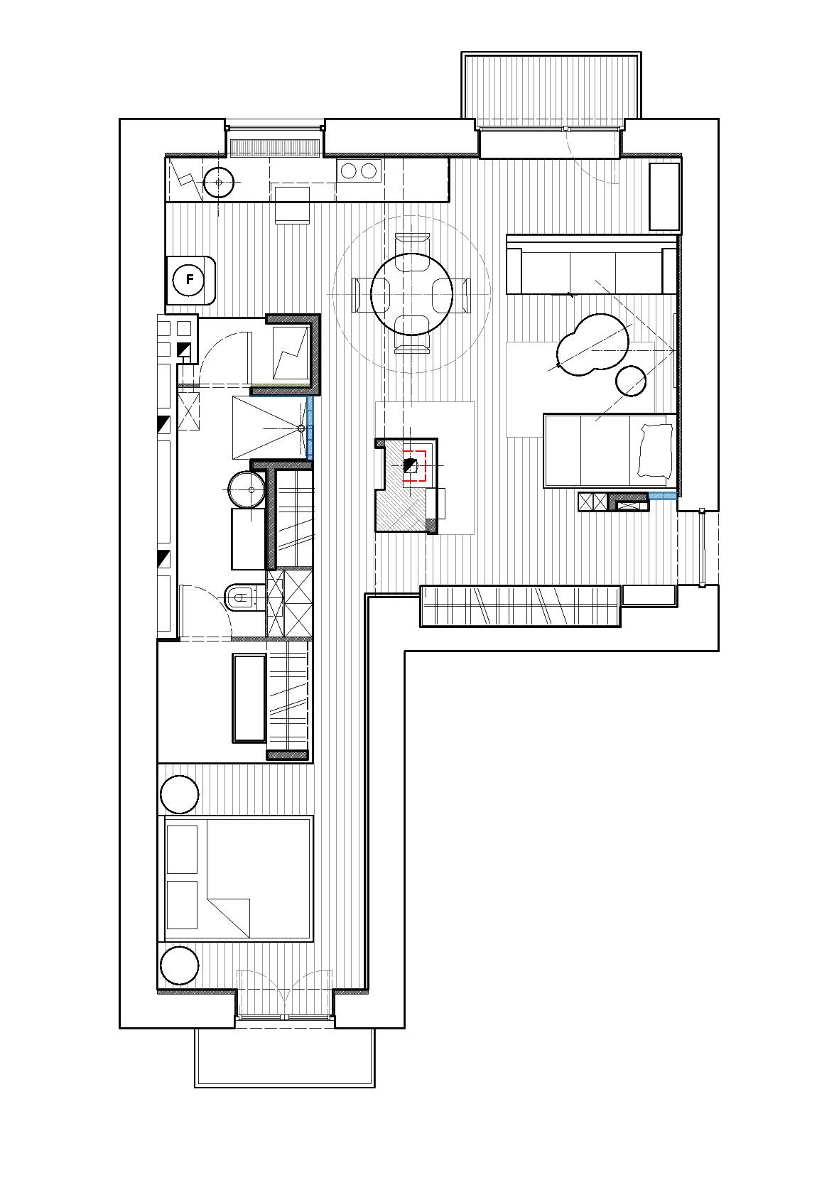schita apartament 2 camere plan deschis