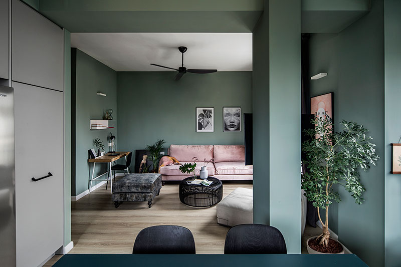 Pereți verzi într-un apartament de 73 m² 15