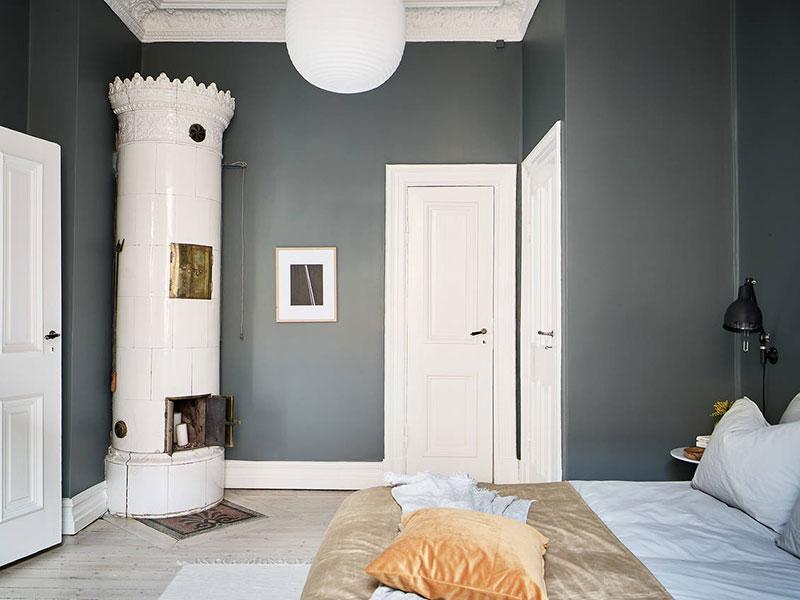 pereți gri în dormitor