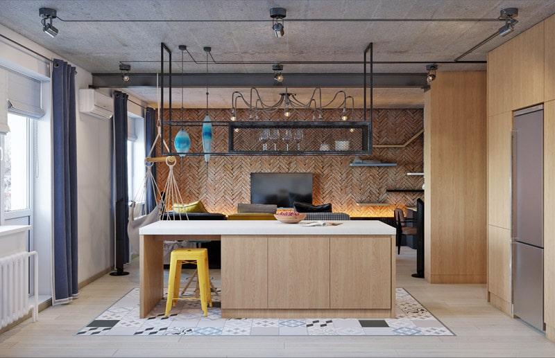 Proiect de amenajare pentru un apartament în stil industrial din Kiev 1
