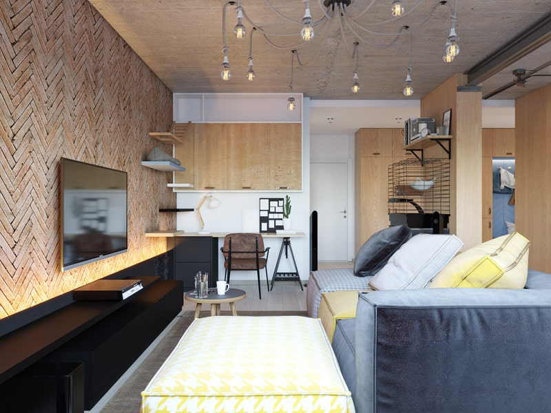 Proiect de amenajare pentru un apartament în stil industrial din Kiev 6