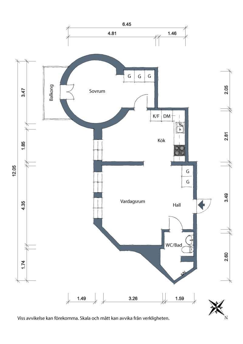 plan apartament cu dormitor rotund