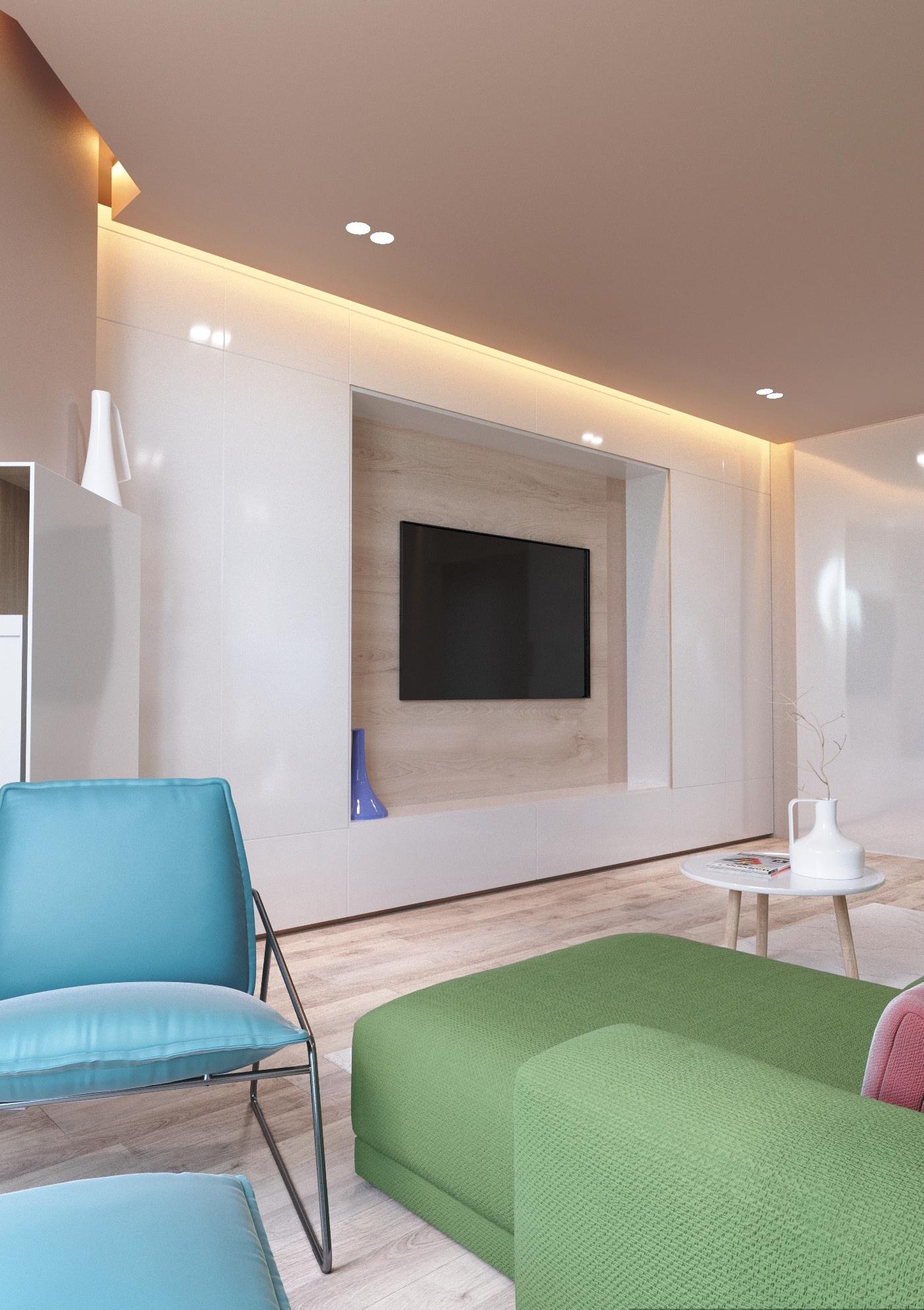 Accente vesele de culoare pe fundal bej într un apartament de 65 m² 2
