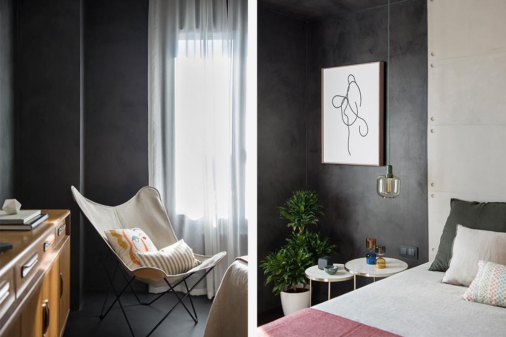 Pereți mobilier și uși negre într un apartament din Barcelona 31
