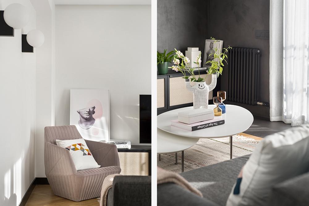 Pereți mobilier și uși negre într un apartament din Barcelona 7