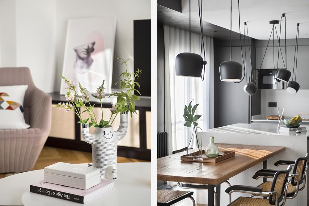 Pereți mobilier și uși negre într un apartament din Barcelona 8