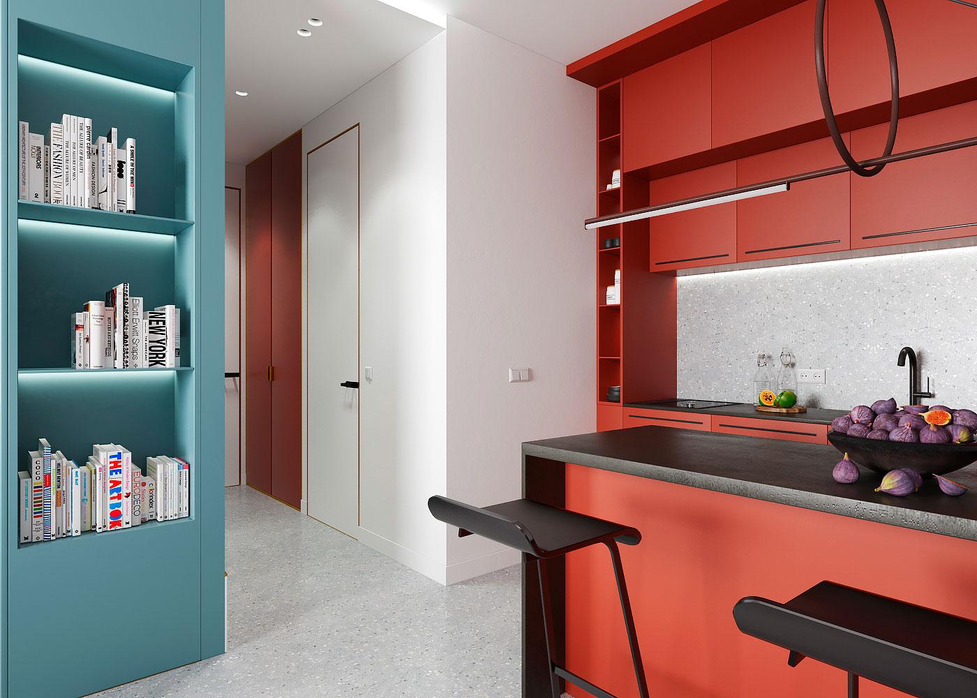 Draperie între living și dormitor într o garsonieră de 35 m² din Kiev 10