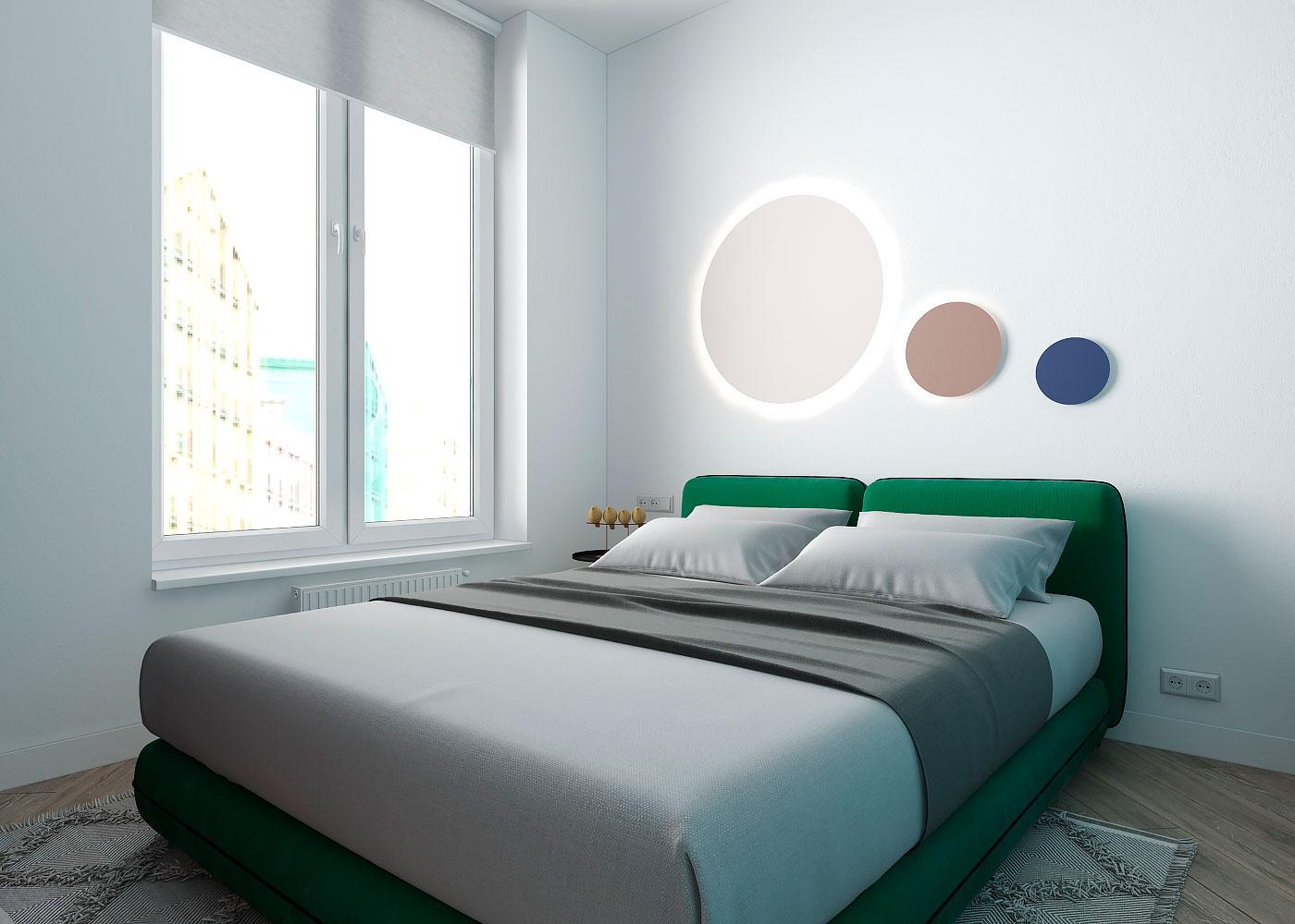 Draperie între living și dormitor într o garsonieră de 35 m² din Kiev 3a