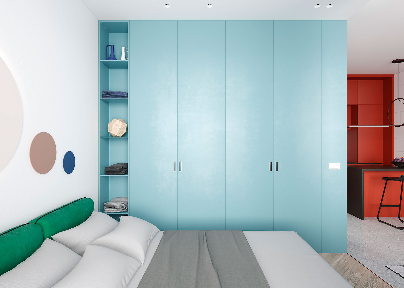 Draperie între living și dormitor într o garsonieră de 35 m² din Kiev 6