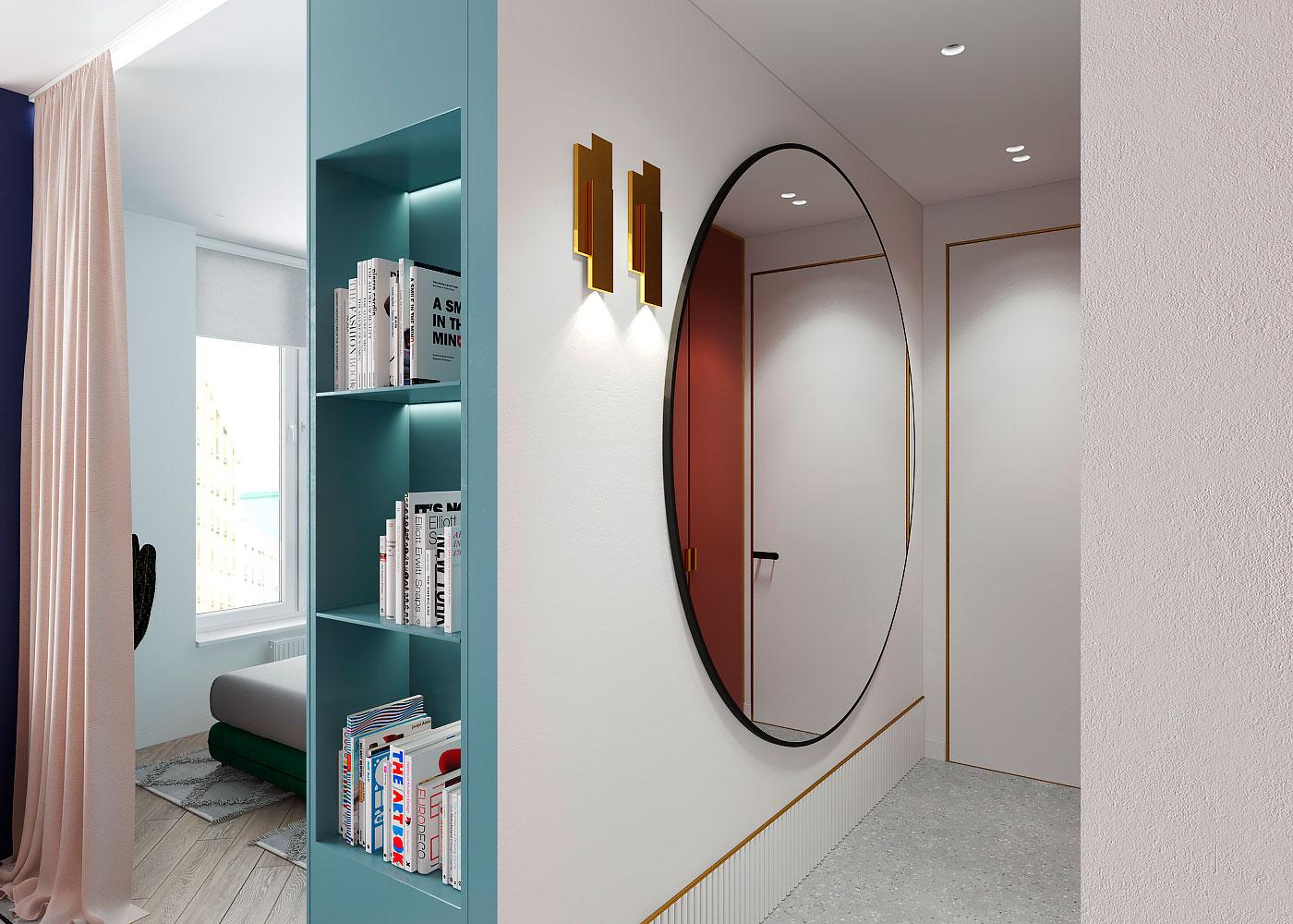 Draperie între living și dormitor într o garsonieră de 35 m² din Kiev 7