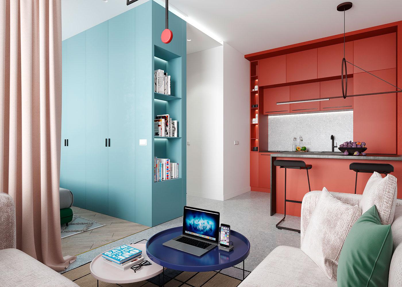 Draperie între living și dormitor într o garsonieră de 35 m² din Kiev 8