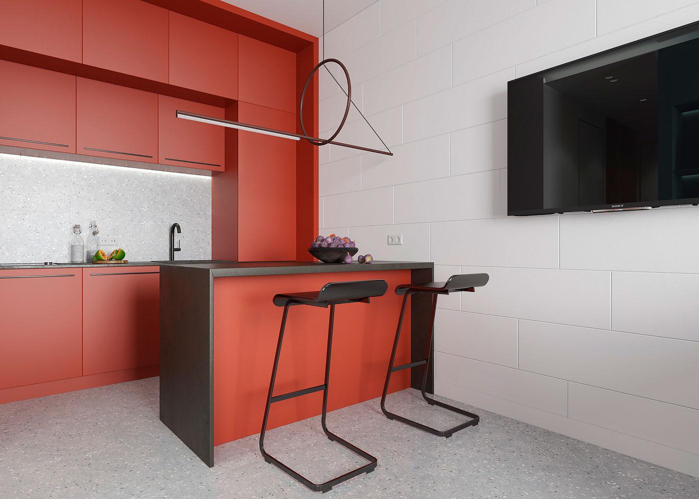 Design interior - Bucatarie portocoalie