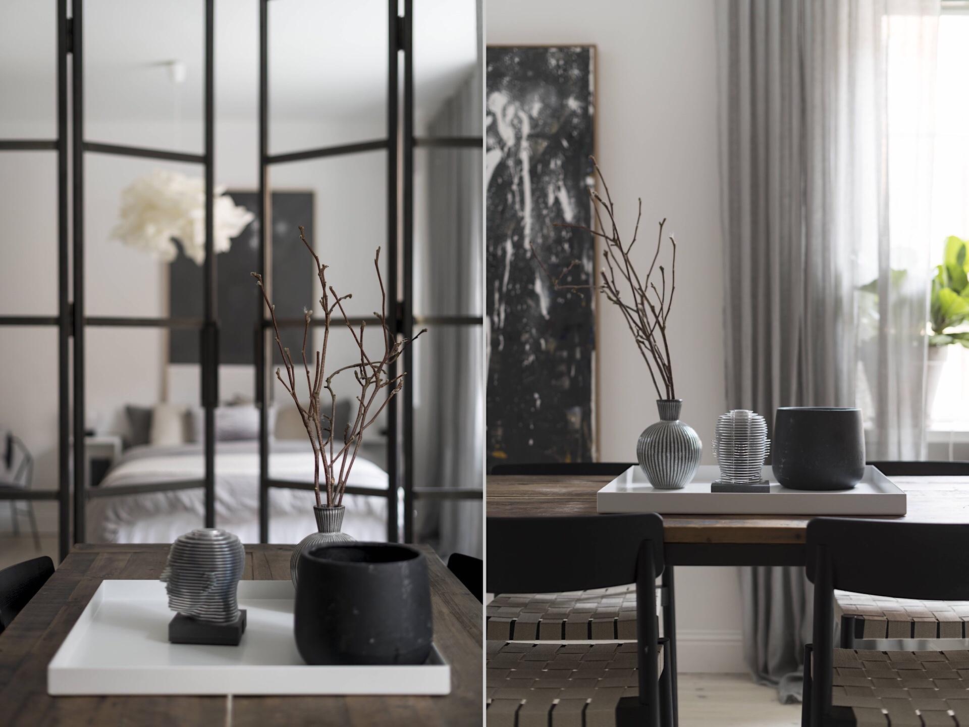 Uși de sticlă între living și dormitor într o garsonieră de 49 m² din Suedia 11