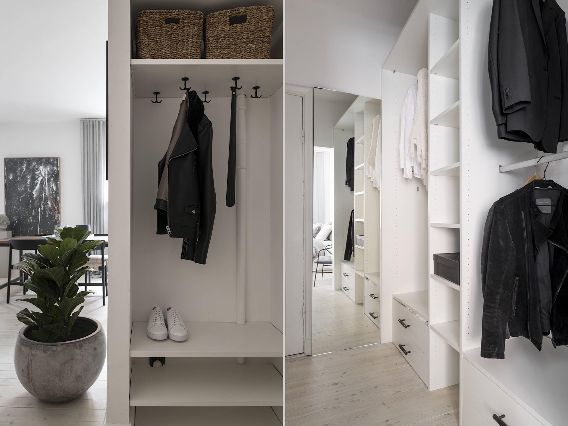 Uși de sticlă între living și dormitor într o garsonieră de 49 m² din Suedia 22