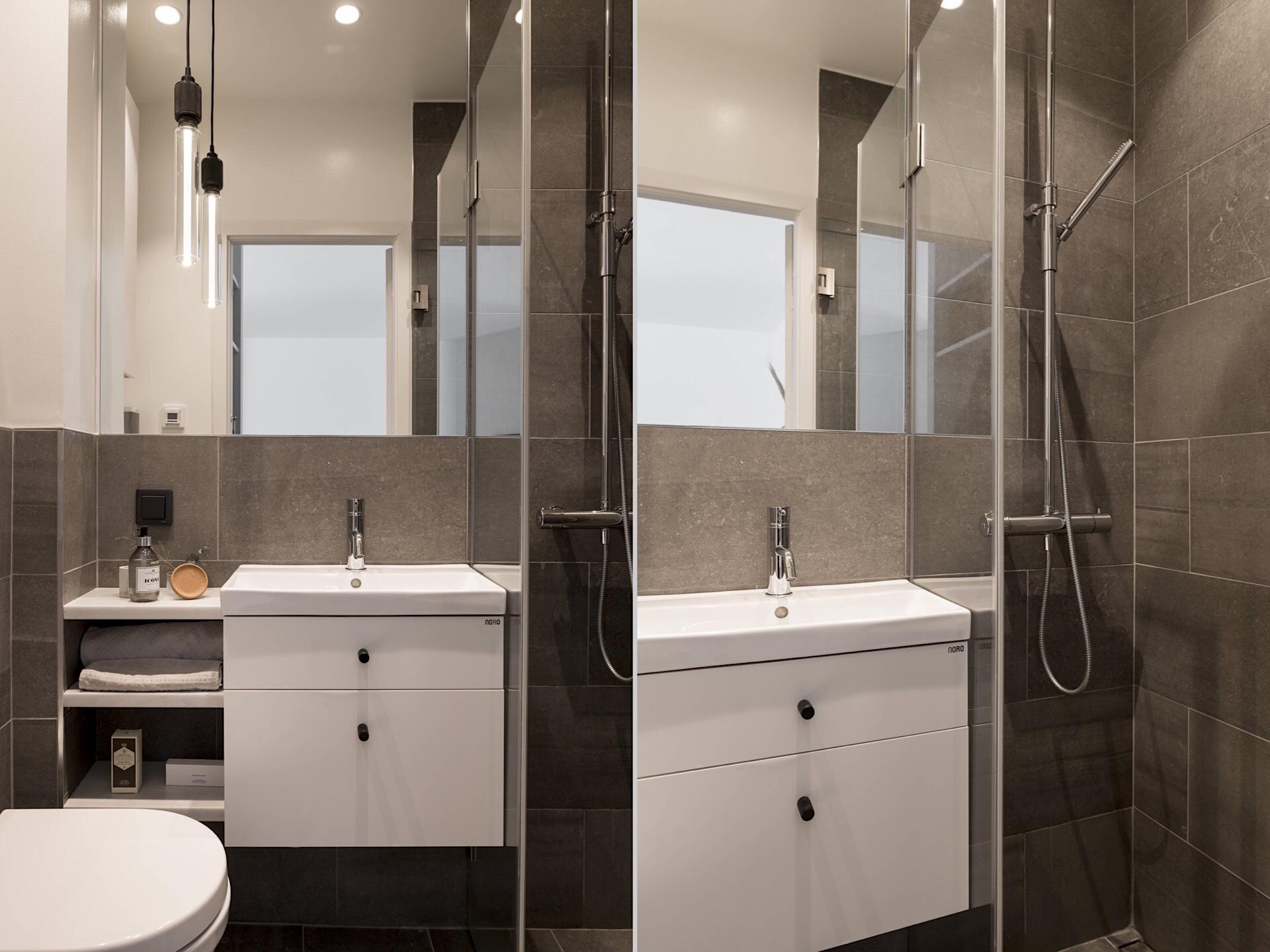 Uși de sticlă între living și dormitor într o garsonieră de 49 m² din Suedia 23