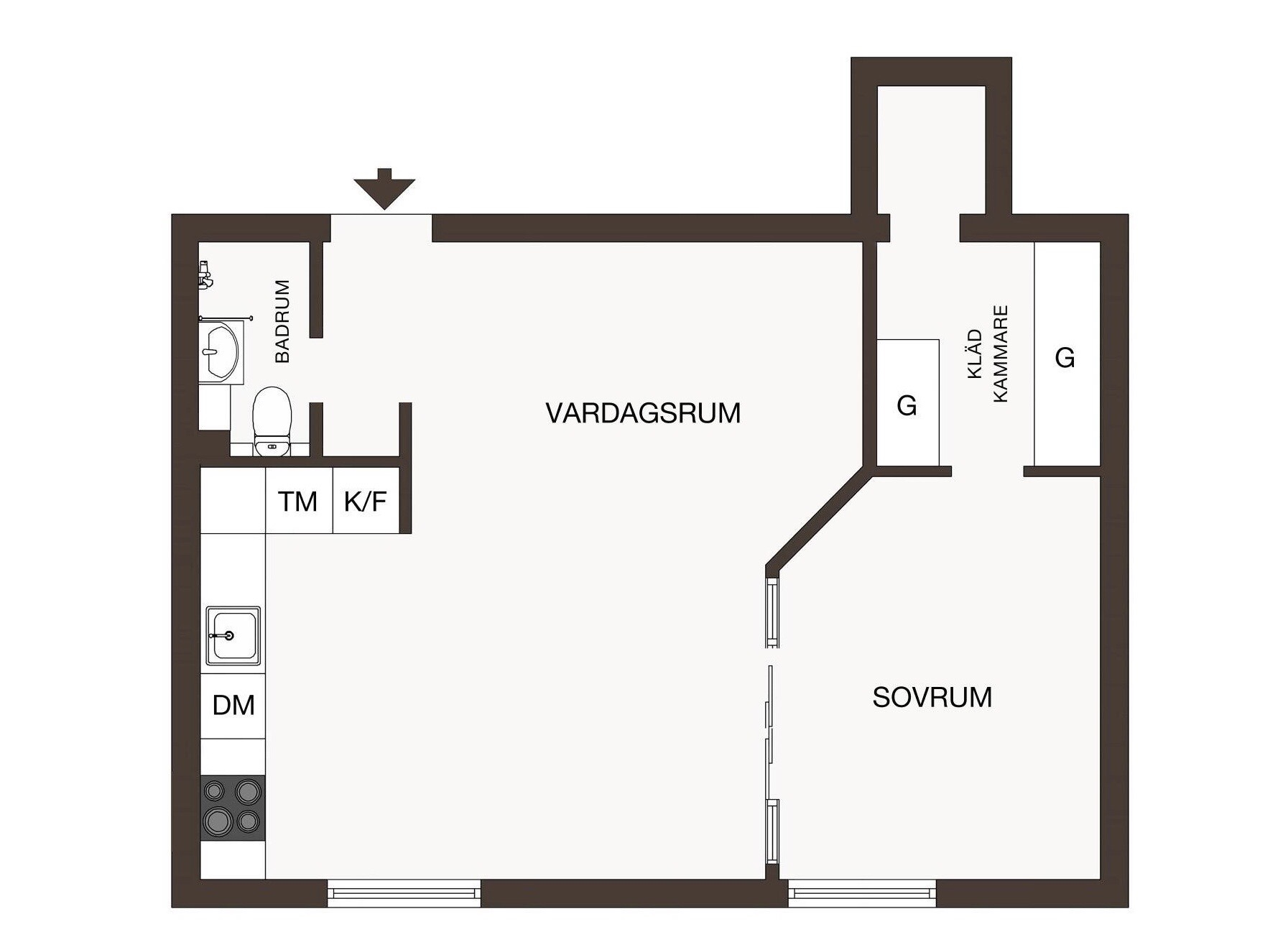 Uși de sticlă între living și dormitor într o garsonieră de 49 m² din Suedia 24