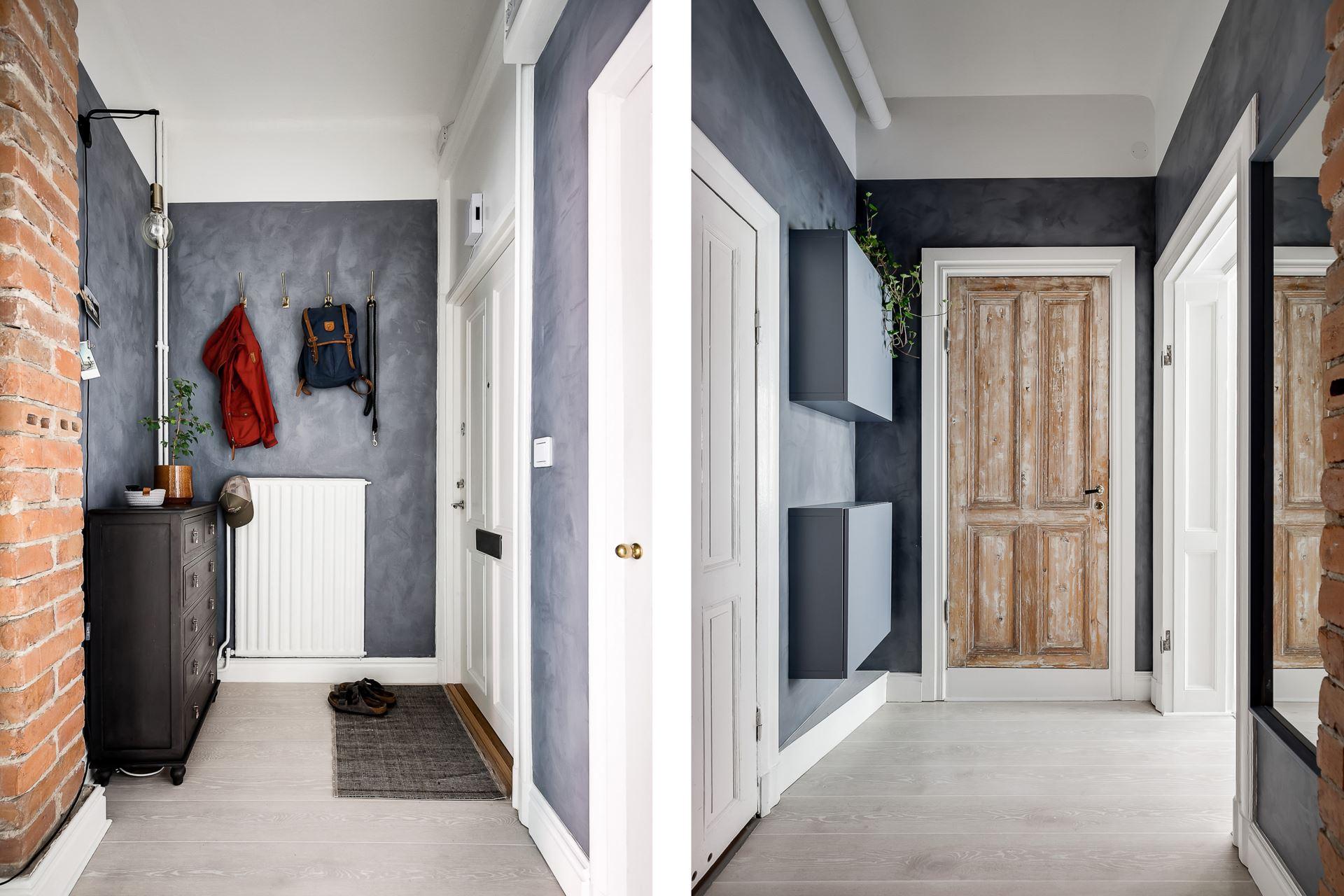 Perete de sticlă și cărămidă expusă în dormitor într o garsonieră de 44 m² 16