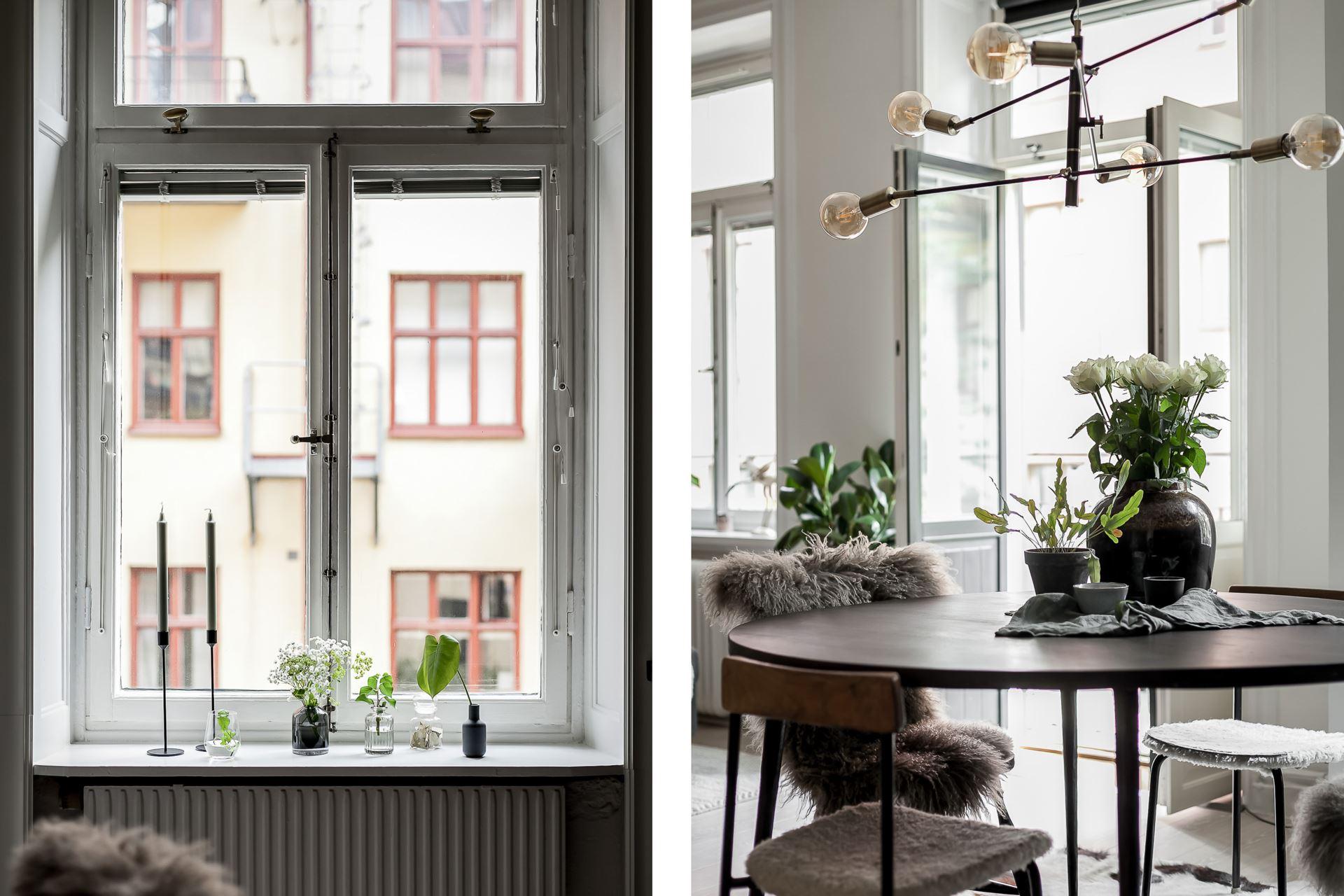 Perete de sticlă și cărămidă expusă în dormitor într o garsonieră de 44 m² 9
