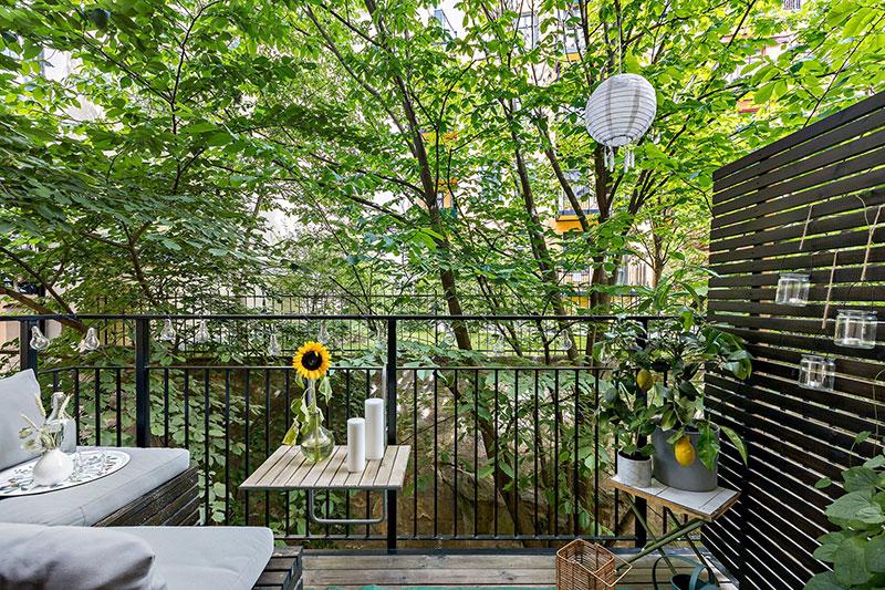 Plan deschis un balcon drăguț și o draperie pentru dormitor într o garsonieră de 37 m² 4
