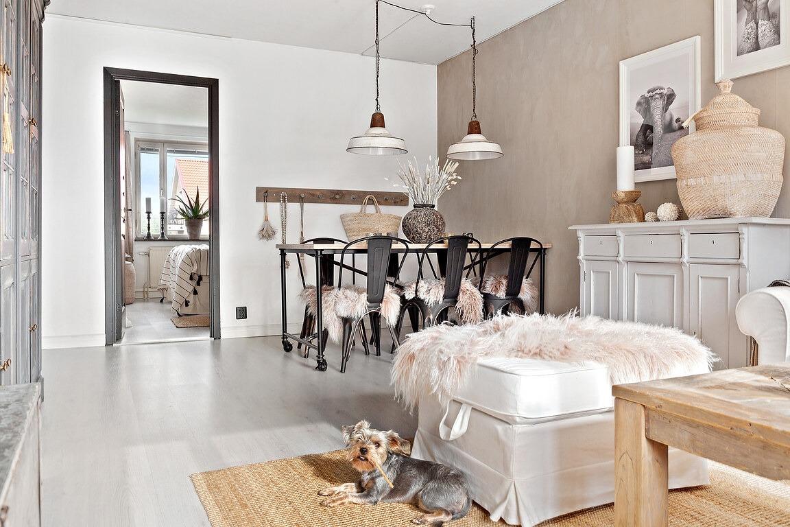 Stil boho șic în tonuri naturale de culoare într un apartament de 63 m² 3