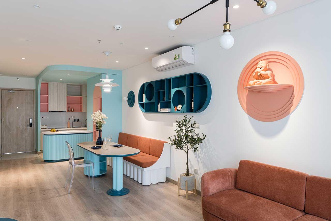 Turcoaz roz piersică și portocaliu într un apartament plin de personalitate din Vietnam 11