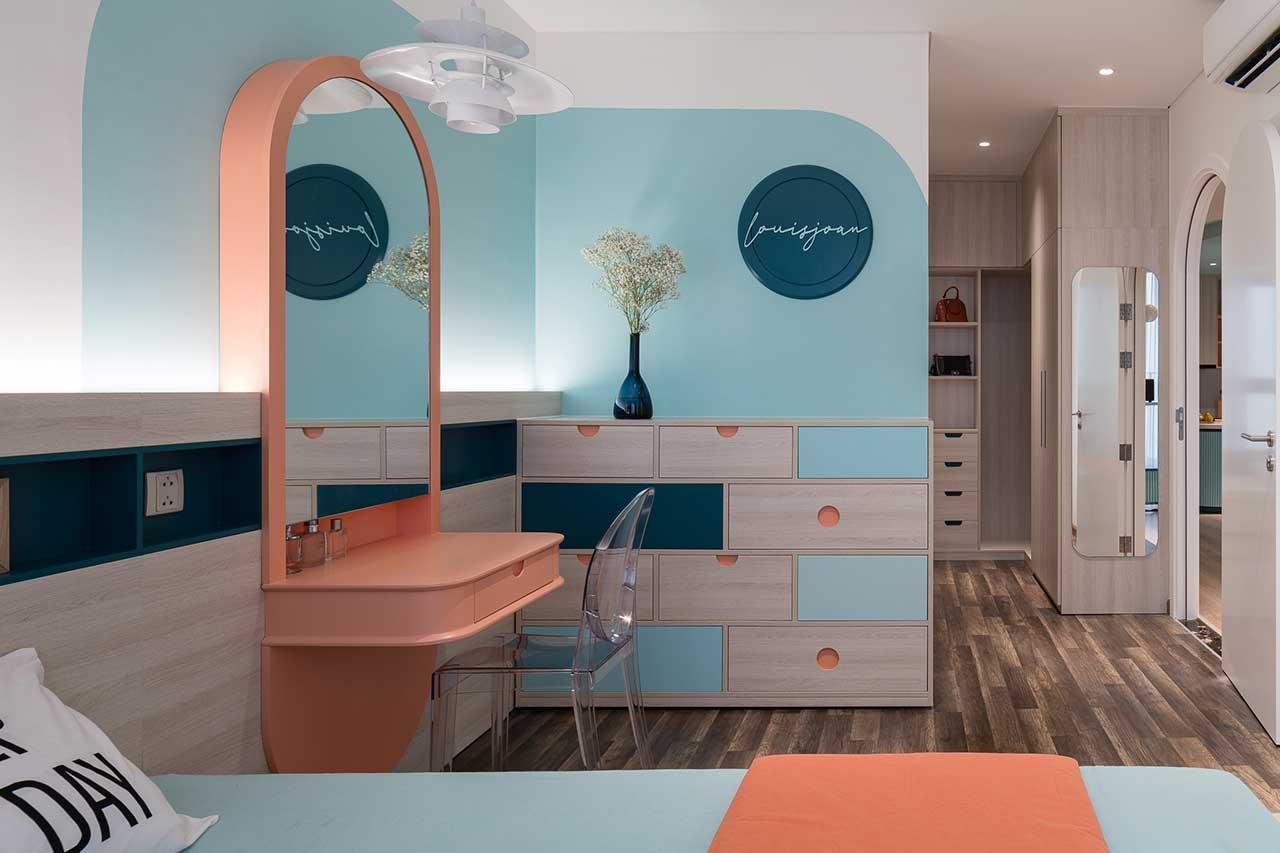 Turcoaz roz piersică și portocaliu într un apartament plin de personalitate din Vietnam 12